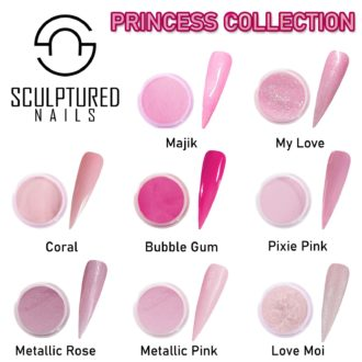 sculptured nails colored acryl princess collection